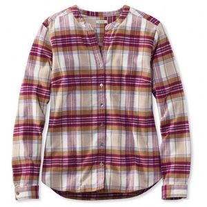 🆕 LL Bean Split Neck Flannel Shirt